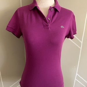 Lacoste Polo US Size XS Solid Purple Short Sleeves